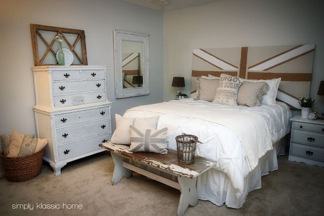 Guest bedroom idea...also used dropcloth for curtains and tied back with burlap! Cheap and shabby chic
