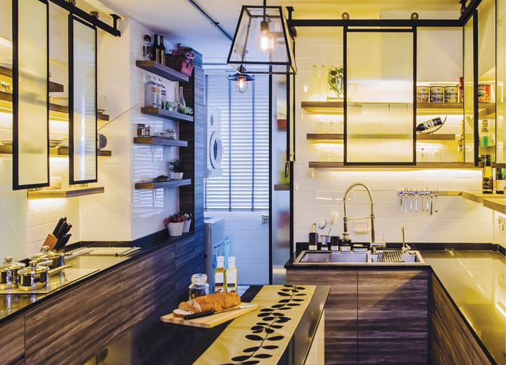 Industrial inspired with island, open shelving