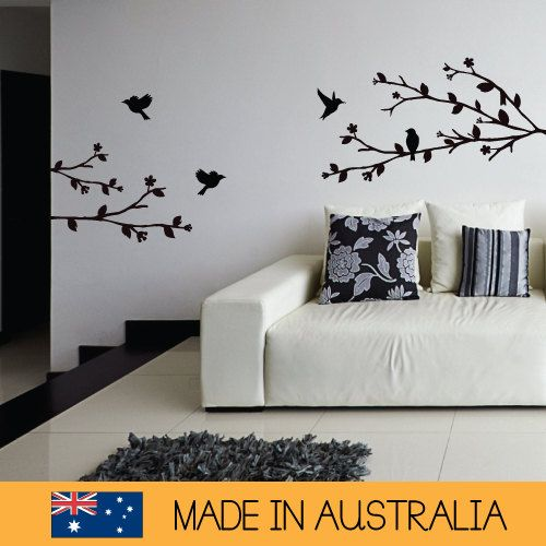 Three Tree Branches with Flying Birds Decal | Removable Wall Decal Sticker | MS0109VC
