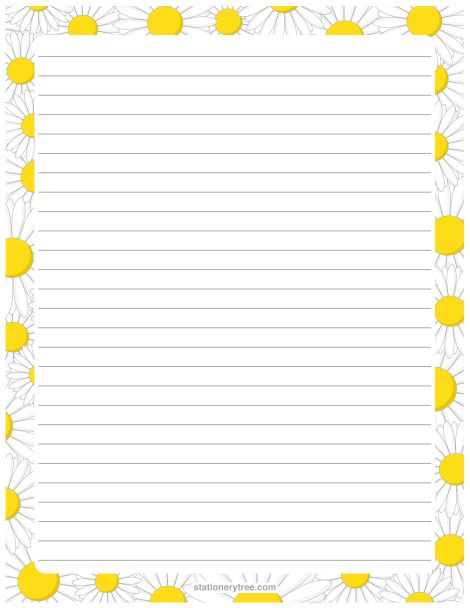Printable daisy stationery and writing paper. Free PDF downloads at http://stationerytree.com/download/daisy-stationery/.