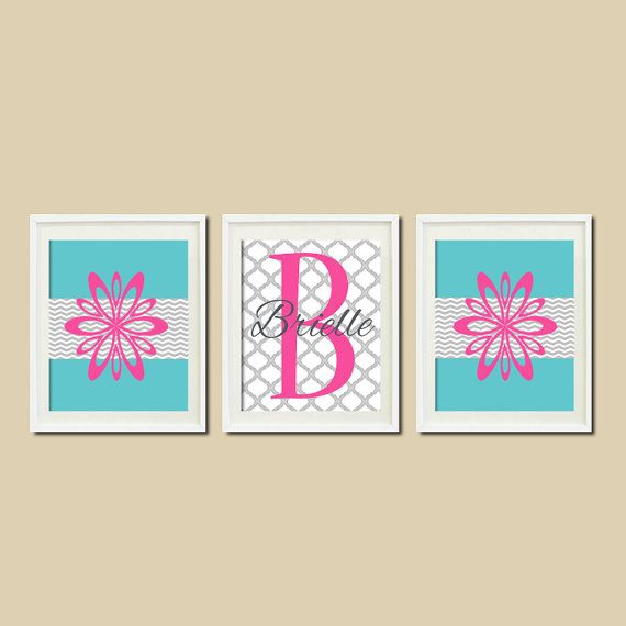 TEEN Room DECOR Floral Chevron Quatrefoil Monogram Name Set of 3 Wall Art Prints Hot Pink Breeze Gray Bedding College Dorm Teen Room Art on Etsy, $29.00