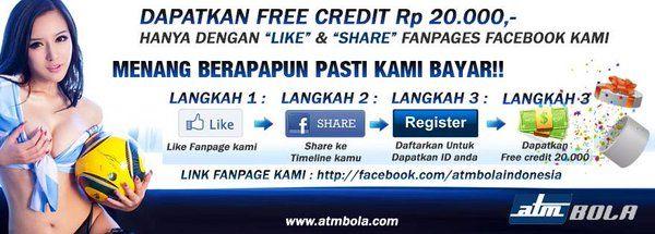 Dapatkan free credit RP. 20.000 hanya dengan like dan share fanpage official dengan cara https://www.facebook.com/atmbolaindonesia/?fref=ts