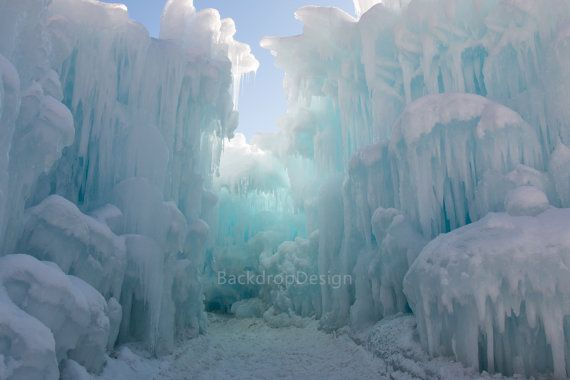 Frozen Backdrop - ice berg, castle, winter, christmas, cinderella, snow - Printed Fabric Photography Background G0095