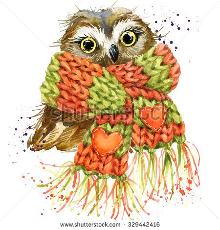 Cute owl T-shirt graphics, snowy owl illustration with splash watercolor textured background. illustration watercolor snowy owl for fashion print, poster for textiles, fashion design