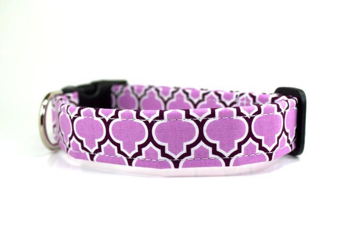 Purple Dog Collar / Lattice in Lilac Dog Collar / Girl Dog Collar / Wedding Dog Collar - pinned by pin4etsy.com