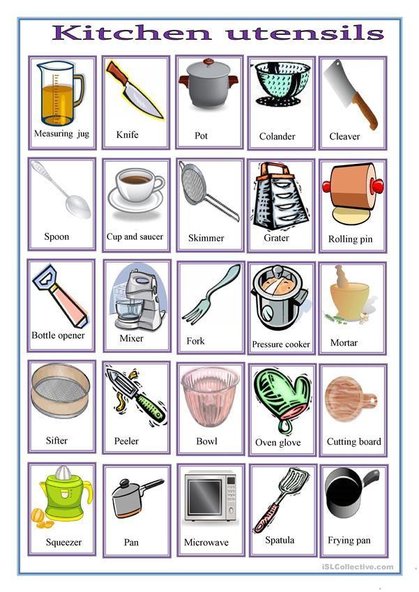 Pin By Silviya On Kitchen English Vocabulary Preschool Cooking