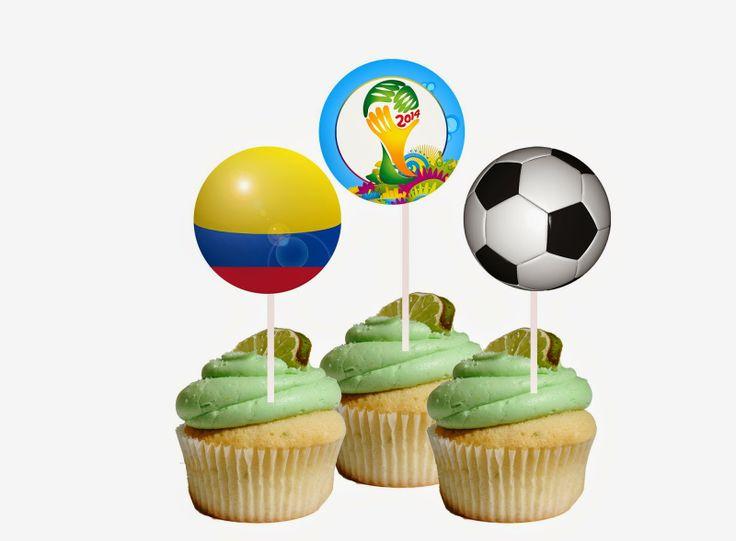 Etiquetas Mundial Brasil 2014. Cupcake toppers World Cup 2014