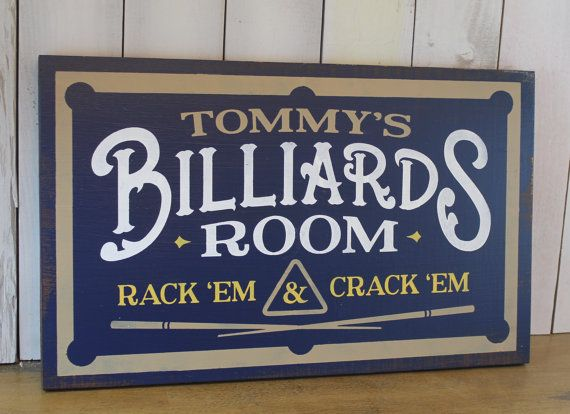Personalized Billards Room Sign/Man Cave/Christmas Gift/YOU choose Name and Colors/Pool Table/Male Gift/Wood Sign/Hand Painted
