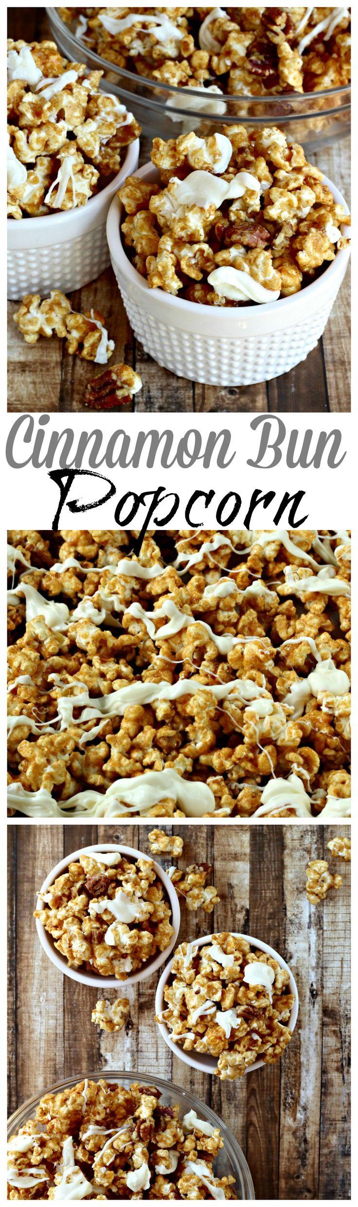 Pop Secret Popcorn topped with cinnamon-sugar and white chocolate, tastes just like a cinnamon bun!