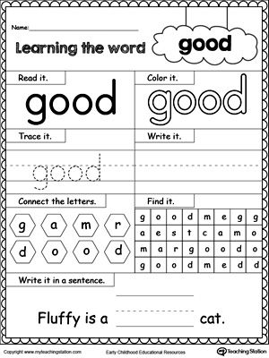 **FREE** Learning Sight Word GOOD Worksheet. Practice recognizing the sight word GOOD with My Teaching Station Learning #sightwords printable worksheet. Your child will practice recognizing the letters that make up the sight word by tracing, writing and finally reading it in a sentence.