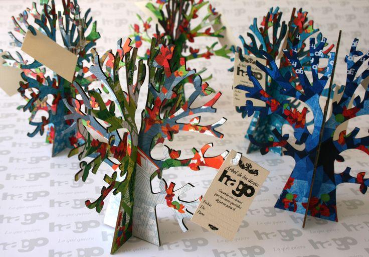 Árboles de los deseos, viene con 15 tarjetitas para que los invitados le escriban los deseos al festejado.