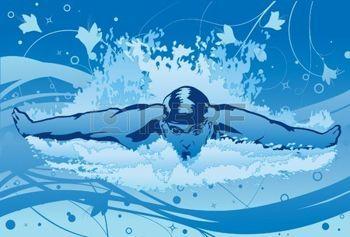 nuotatore: Un'immagine che mostra una piscina maschio nuotatore in piscina con la corsa farfalla