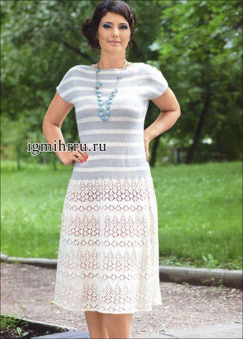 Платье серо-кремового цвета (вязание спицами)