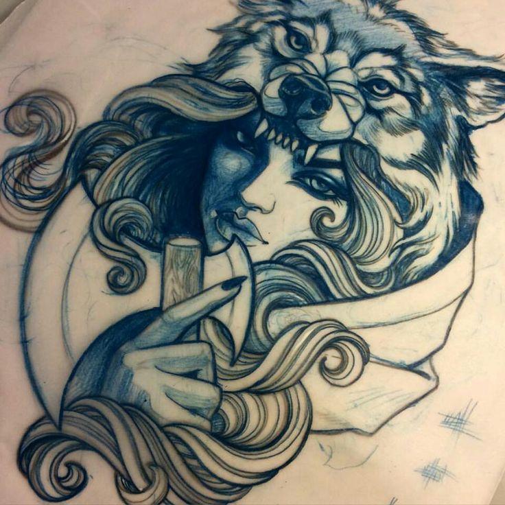girl n 39 wolf tattoo tattoos motherfucker pinterest style girls and wolf tattoos. Black Bedroom Furniture Sets. Home Design Ideas
