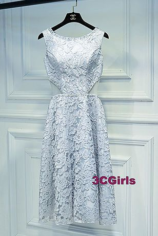 Lace prom dress, cute ligh blue lace hollow out prom dress