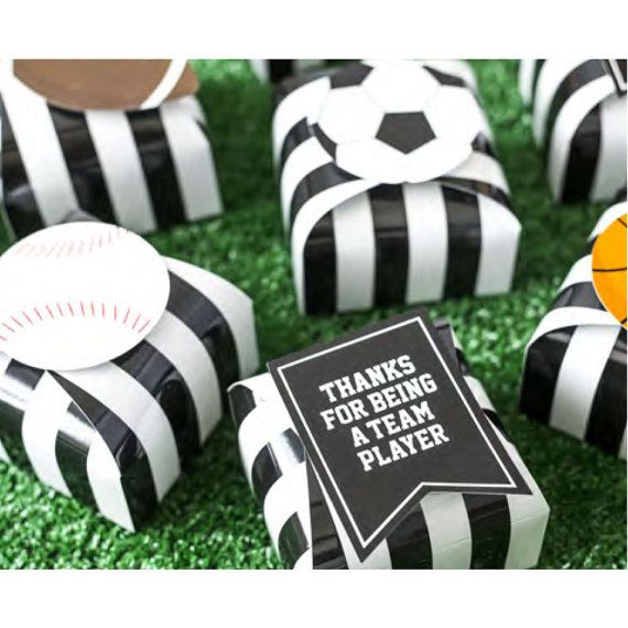 Whether youre having a football, soccer, baseball, basketball or general sports themed party, the Sports favor box kit from the Celebration