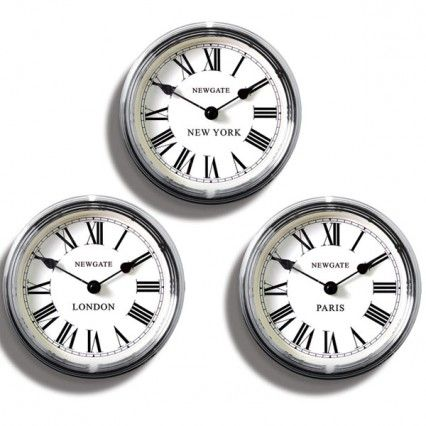 Newgate World Time Clocks - Set of 3 - chrome classic wall clocks