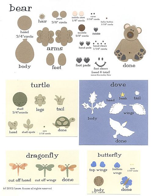 laura's frayed knot: Paper-Punch Art - Zoo - Bear, Turtle, Dragonfly, Dove & Butterfly