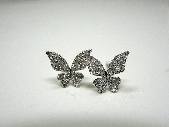 Diamond and White Gold Butterfly Earrings