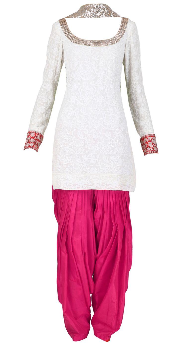 Manish Malhotra Ivory and red chikankari kurta set with embellished dupatta