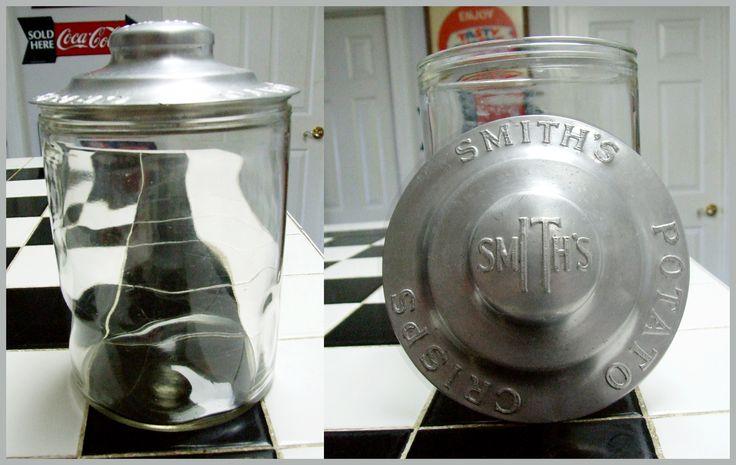 Rare Smith's Crisps Jar embossed aluminum lid