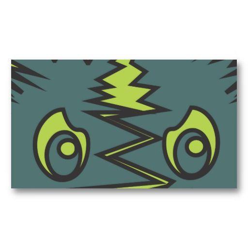 Dark green monster face business card templates #businesscards