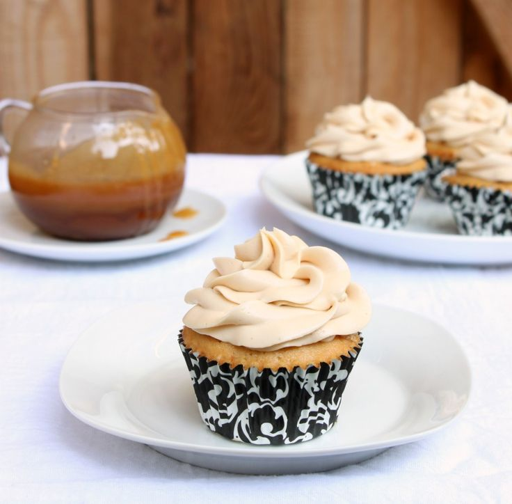 Brown Sugar Cupcakes with salty caramel filling & salty buttercream frosting
