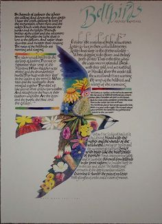 An Australian poem, Bellbirds, printed as a limited edition serigraph many years ago.  Great example of Dave's manipulation of the letterforms to create the mood of the poem.