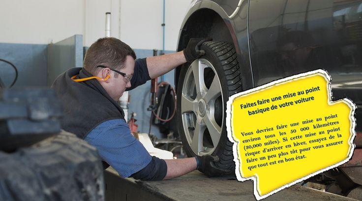 Faites faire une mise au point de votre voiture Emmenez votre voiture chez un mécanicien et faites-lui vérifier les choses suivantes: la batterie, les pneus, le niveau du liquide de refroidissement/antigel, le système d'échappement, les phares, les freins, le chauffage, et le dégivreur. #pneustoutesconditionsmeteorologiques
