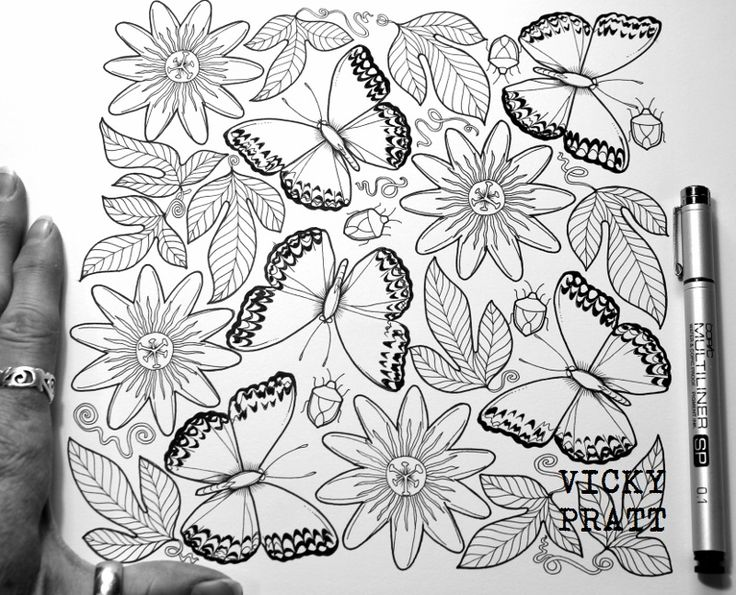 By Vicky Pratt. Migratory Glider and Passion fruit flowers. Colouring in for grown ups. Black pen and ink. Copic multiliner on hot pressed water colour paper. Find me on Facebook and Instagram. www.vickyprattillustrations.com