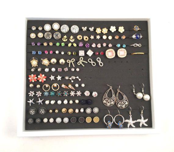 Jewelry Tray Organizer, WHITE frame - BLACK foam, Ring Tray Organizer, Earring Display Tray,Drawer Organization,Gift for women,Hook Earrings