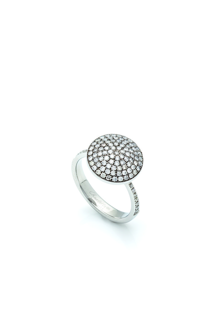 Charlotte art deco ring stainless steel with 14 diamonds and centerpiece stainless steel with 88 diamonds.