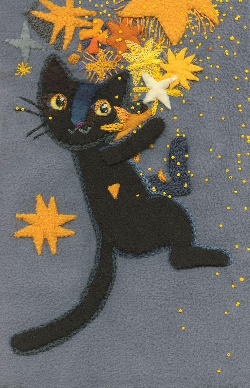 A Collection of Adorable Fiber Art Cat Illustrations - By Elżbieta Wasiuczyńska
