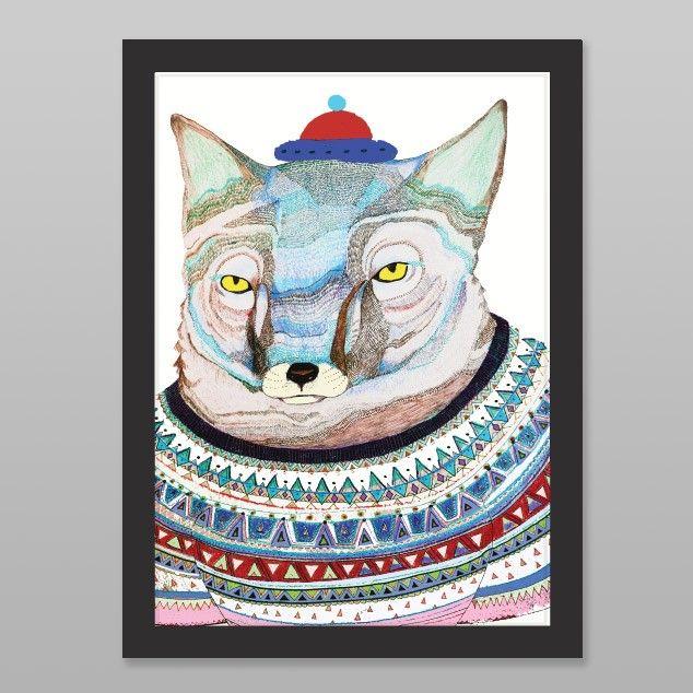Fox In Jumper Art Print by Ashley Percival