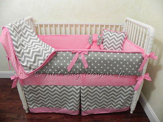 Custom Baby Bedding Set Gray Chevron w/ Medium by BabyBeddingbyJBD, $341.00
