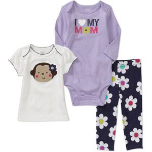 Child of Mine Carters Newborn Girls' 3-Piece Monkey Flower Set. $9.91 RN, 0-3 meses, 3-6 meses, 6-9 meses