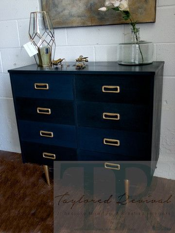Casey : TR collection  - Bespoke mid century modern set of draw – Taylored Revival #anniec#sloan #chalk #paint #napoleonic #blue #graphite #dresser #gold #leafing #chalkpaint