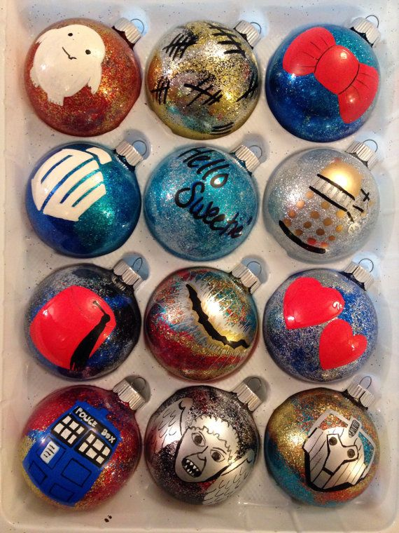 Hello sweetie! Both your hearts will love these individually hand painted glass ornaments celebrating the amazing fandom of Doctor Who. Choose