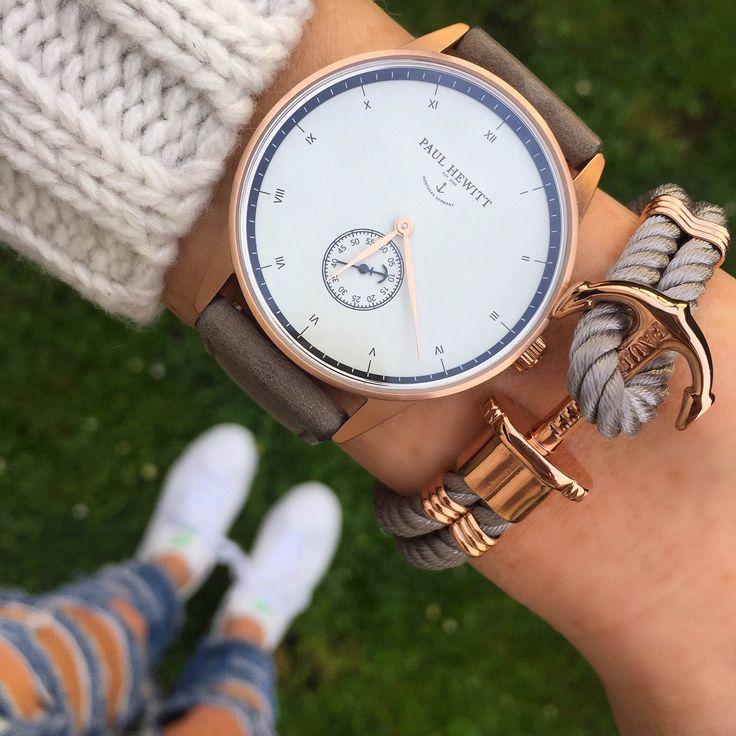Tolle Uhr mit schlichtem Ziffernblatt und anthrazit-blaugrauem Uhrband mit Roségold! Paul Hewitt Uhr / Armbanduhren Frauen / Wristwatch Women   Stylefeed