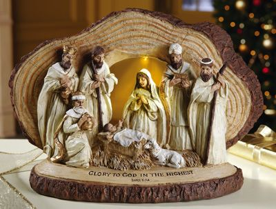Lighted Woodland Nativity Scene Sculpture, Collections, Etc.
