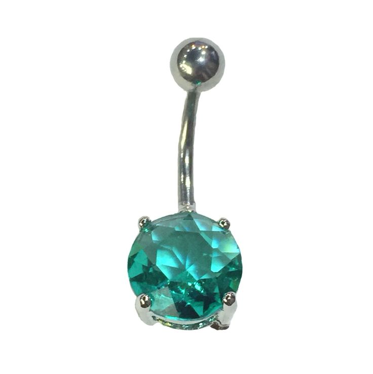 Navel piercing ring with emerald gem
