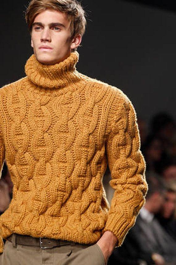 Men's chunky hand knit turtle neck sweater, BANDofTAILORS, Etsy