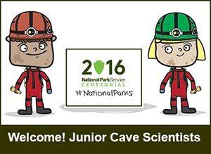 junior cave scientist cartoon illustration of kids
