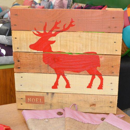 Christmas / xmas Reindeer Pallet Art