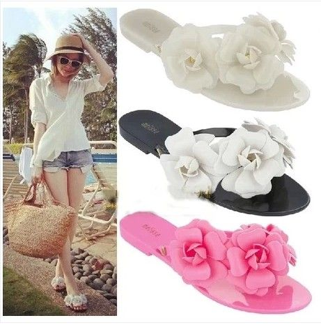Women's Sandals 2015 Summer Beach camellia sandal flower melissa style jelly shoes flip flops slippers lady flat shoes