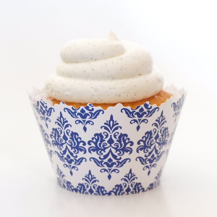 Navy Blue and White Traditional Print Damask Cupcake Wrapper - Set of 12 - Victorian Design for Cupcakes ^^ Instant Savings available here : Baking desserts tools
