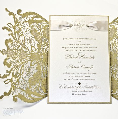 114 best invitations images on pinterest wedding blog gold lace wedding invitation stopboris Gallery