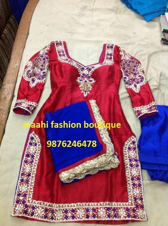 Red and royal blue punjabi suit