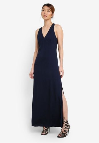 Sleeveless High Slit Maxi Dress from Something Borrowed in blue and navy_4