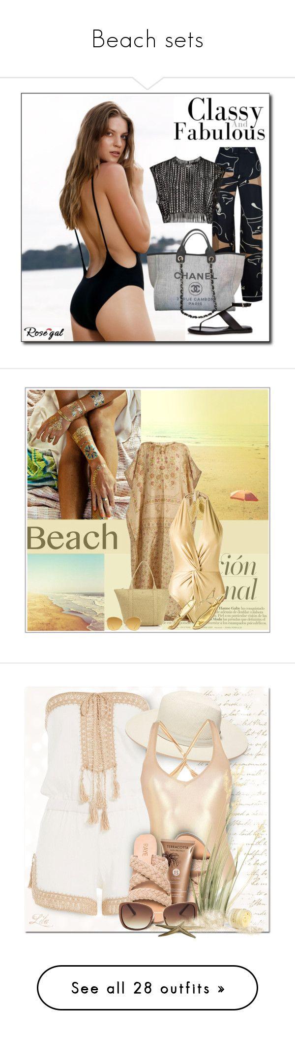 """Beach sets"" by lionfishka ❤ liked on Polyvore featuring Valentino, Chanel, La Perla, Therapy, Mes Demoiselles..., Eric Javits, Martha Medeiros, Prada, Linda Farrow and Anna Kosturova"